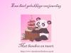 Gelukkige verjaardag met taart en bamboe